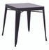 Galvanized Steel Outdoor Dining Table in black finish.