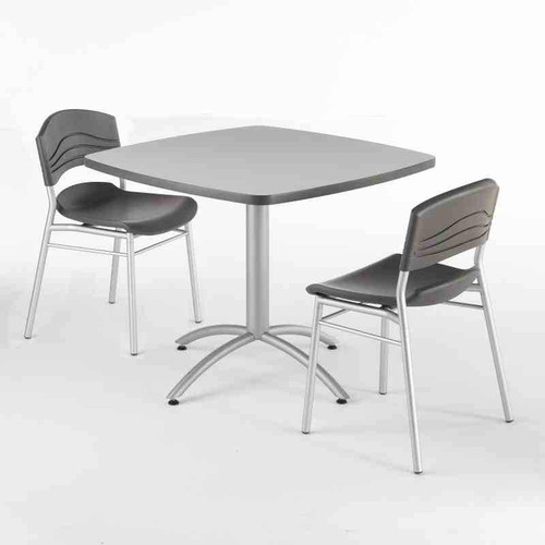 Iceberg CafeWorks Bistro Table and Chair Set in gray.