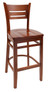 Danielson Wood Bar Stool in cherry with cherry wood seat. Available in multiple wood finishes, stool or chair height, with optional black cushion seat.
