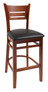Danielson Wood Bar Stool in cherry with black cushion seat. Available in multiple wood finishes, stool or chair height, with optional black cushion seat.