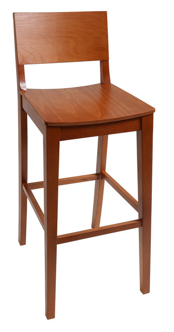 Our Paulina Bar Stool for restaurant or home use lets you customize your look with a variety of wood finishes, frame sizes, and vinyl colors.