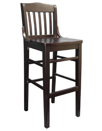 "Made from solid beechwood, our Schoolhouse Bar Stool (shown in mahogany finish) is built to withstand commercial use. Available in mahogany, cherry or walnut wood finish. Seat height 17"". Also available in chair height."