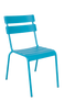 "The Steel Ladder Back Outdoor Chair (shown in blue) provides a modern look with a pop of color. Features include: - Available in black, blue, and green powder-coat finish -Commercial grade -For indoor and outdoor use -Stackable for convenience -Seat height 18""."
