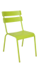 "The Steel Ladder Back Outdoor Chair (shown in green) provides a modern look with a pop of color. Features include: - Available in black, blue, and green powder-coat finish -Commercial grade -For indoor and outdoor use -Stackable for convenience -Seat height 18""."
