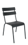 "The Steel Ladder Back Outdoor Chair (shown in black) provides a modern look with a pop of color. Features include: - Available in black, blue, and green powder-coat finish -Commercial grade -For indoor and outdoor use -Stackable for convenience -Seat height 18""."
