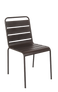 This outdoor steel chair features: Durable Steel Frame for Outdoor Home or Commercial Use, Stackable Build, and Powder-Coated Finish. Also available in black.