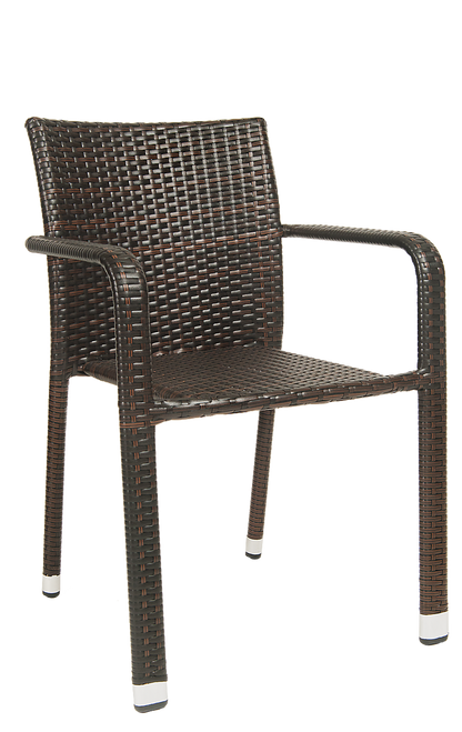 This outdoor steel armchair in brown rattan finish is perfect for commercial or home patio seating.