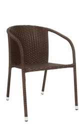 Furnish your home, restaurant or bar's patio with this outdoor steel rattan chair in black/brown mixed color and powder-coated finish.