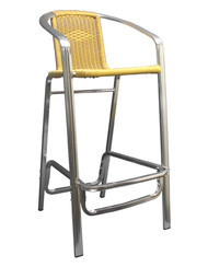 This outdoor bar stool will add a clean, natural aesthetic to your home, restaurant or bar patio. Features Include: Durable Aluminum Frame for Outdoor and Commercial Use, Synthetic Bamboo Seat and Back in Natural Finish, and Armrests for Maximum Comfort.