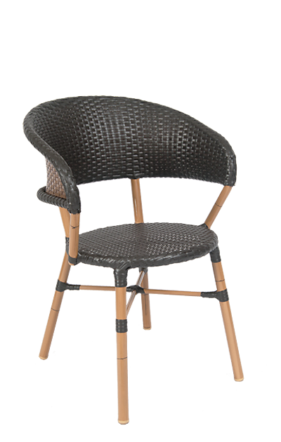 This summer, furnish your patio with this outdoor wicker chair, built for commercial or home use. Features Include: Sturdy Aluminum Frame for Outdoor Commercial Use, Synthetic Wicker Exterior, and Curved Back for a Cozy Feel.