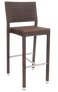 This bar stool has a strong aluminum frame and a poly-woven exterior. This bar stool is perfect for home or restaurant use and is built to withstand commercial outdoor use.