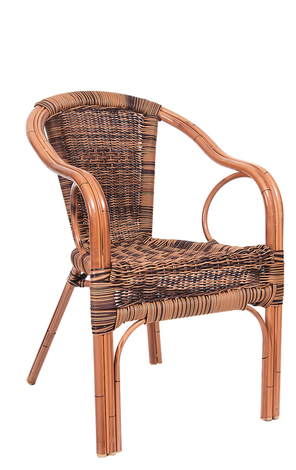 Soak up summer with this outdoor armchair. Features include a brass aluminum frame and a synthetic, poly-woven exterior for comfortable seating. Built for home, restaurant or bar outdoor seating and use.