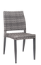 This outdoor side chair is modern and comfortable. Features include a sturdy aluminum frame, supportive back, and poly-woven exterior in silver color. For home, restaurant or bar outdoor use.