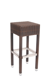 This outdoor bar stool has a modern, bohemian look to accent your home, restaurant, or bar. Features Include: Durable Aluminum Frame and Foot Ring and Poly-Woven Exterior.