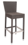 Add summer vibes to your patio or outdoor dining area with this bar stool. Features Include: Durable Aluminum Frame for Outdoor and Restaurant Use and Poly-Woven Exterior.