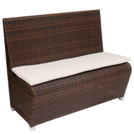 Add to your home, restaurant or bar's summer aesthetic with this beautiful outdoor bench. Features Include: Poly-Woven Exterior, Durable Aluminum Frame for Outdoor Commercial Use, and Comfortable Cushion.