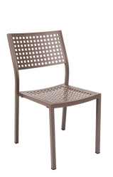 This aluminum frame outdoor armchair features: Open Back, Powder Coating in Rust Color, Perforated Back and Seat, and Aluminum Frame to Endure Outdoor Commercial Use.