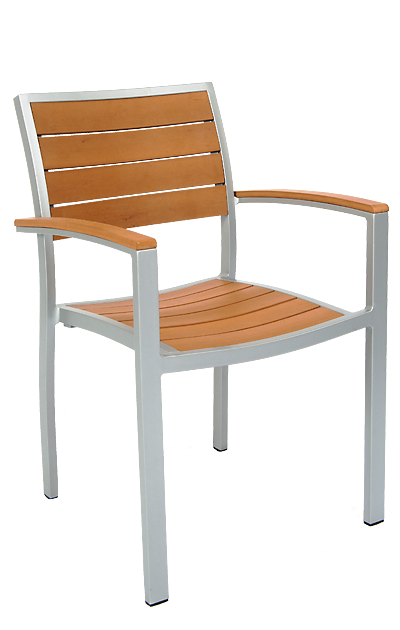 This armchair features an aluminum frame and imitation teak slats. Perfect for your home or restaurant patio seating area.