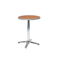 "Our round, aluminum, 24"" Roosevelt table features an imitation teak slats top for a perfect outdoor dining aesthetic for your home, restaurant, or bar."