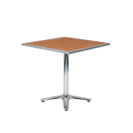 "Granville 24"" x 30"" aluminum table features imitation teak slats top and a durable build for a worry-free summer patio season. For home or restaurant outdoor use."
