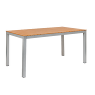 "Summer seating is easy with our 32"" x 60"" Sheridan outdoor aluminum table. Features include: imitation teak slats top and 2"" umbrella hole. Built to endure home or commercial outdoor use."
