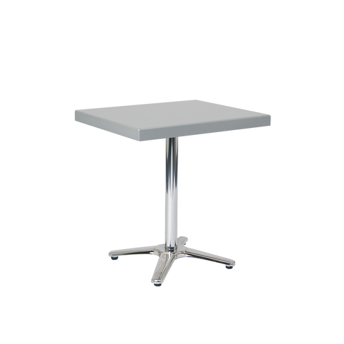 "Randolph 24"" x 30"" outdoor aluminum table with powder-coated top in silver color, for residential or commercial use."