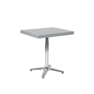 "Clark 30""x30"" outdoor aluminum table with powder-coated top in silver color, for home or restaurant use."