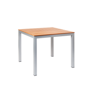 "Jackson aluminum table, 36""x36"", with imitation teak slats, silver finish, for home or commercial outdoor use."