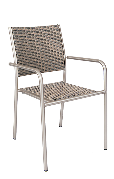 Diversey outdoor aluminum armchair with imitation rattan back and seat, for home or commercial use.