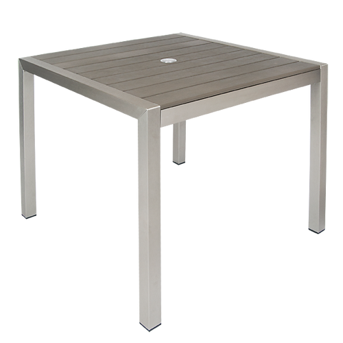 "Belden 36""x36"" outdoor aluminum table with 2"" umbrella hole, imitation teak slats top in grey finish, for commercial or home use."