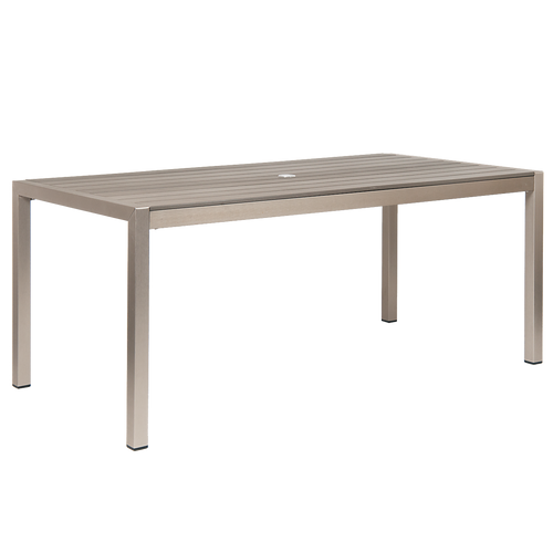 LaSalle outdoor aluminum table with umbrella hole and imitation teak slats for home, restaurant, or bar.