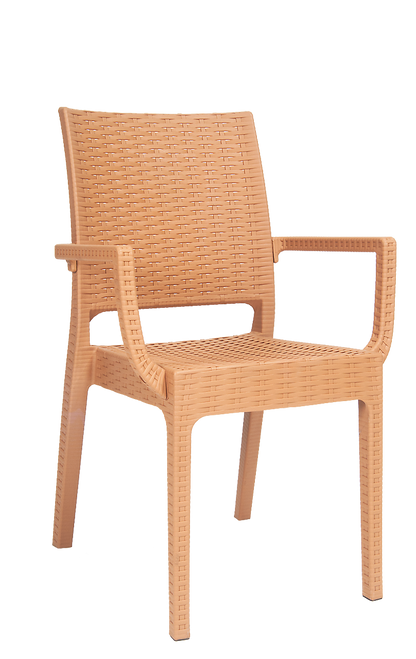 This wicker-look resin armchair in camel color provides perfect summer vibes for your outdoor seating area.