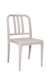 Poly plastic chair in gray color. Perfect for your home, bar, or restaurant seating area.