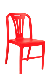 Add a splash of color to your home, bar, or restaurant seating area with this poly plastic chair in red.