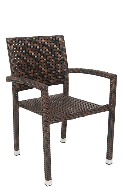 Outdoor aluminum/poly-woven armchair, durable and stylish for your restaurant, bar, or home outdoor seating area.