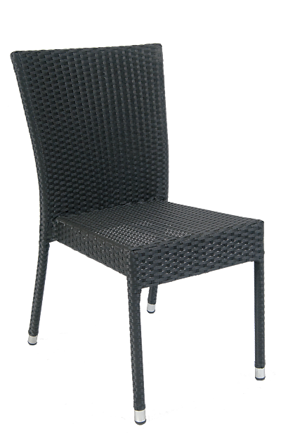Outdoor aluminum/synthetic wicker armless chair for your home, restaurant or bar.