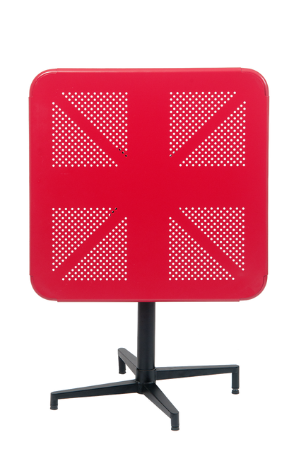 """30"""" x 30"""" indoor/outdoor metal folding table in red finish.  Perfect for your home, restaurant or bar seating area."""