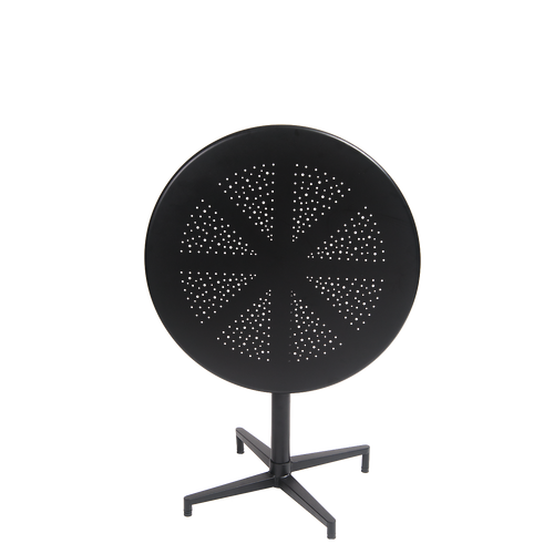 "30"" round indoor/outdoor metal folding table in black finish.  The perfect aesthetic for your home, restaurant or bar seating area."