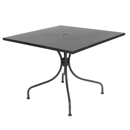 "Outdoor black metal table with 2"" umbrella hole, for your home, restaurant or bar seating area."