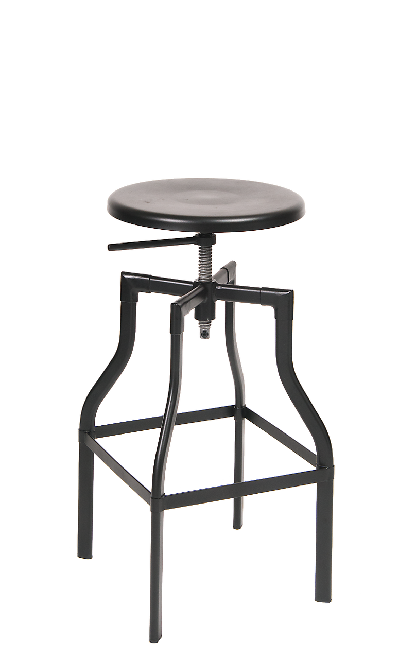 Indoor Steel Barstool In Black With Adjustable Seat Height, For Your Home,  Restaurant Or