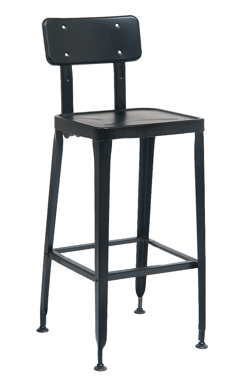 Indoor outdoor metal chair in black finish for home restaurant or bar seating area
