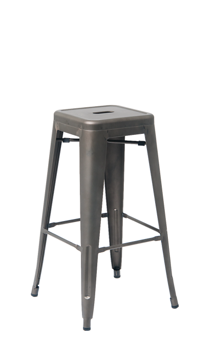 Indoor Backless Steel Barstool in gun color coating  | Seats and Stools
