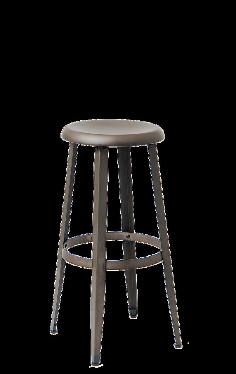 Wondrous Round Seated Steel Barstool In Gun Color Coating Ibusinesslaw Wood Chair Design Ideas Ibusinesslaworg