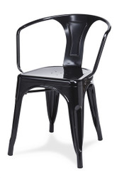Galvanized Steel Straight Arm Chair in black | Seats and Stools