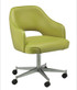Open Back Club Bucket Chair - green vinyl, casted base | Seats and Stools