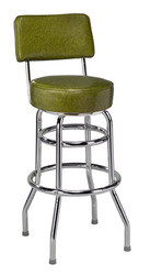 "Retro Double Ring Bar Stool with Back, 16"" seat 