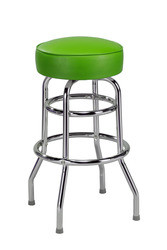 "Retro Double Ring Bar Stool with Round Seat, 14"" seat size 