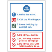 Fire Action Notice  - Lifts
