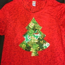Red & Green Christmas Tree Women's Burnout