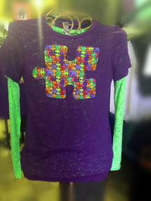 Autism Awareness Burnout shown layered over a Lime Long-Sleeve Burnout